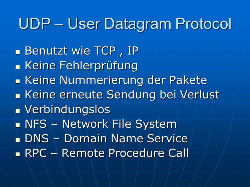 UDP – User Datagram Protocol