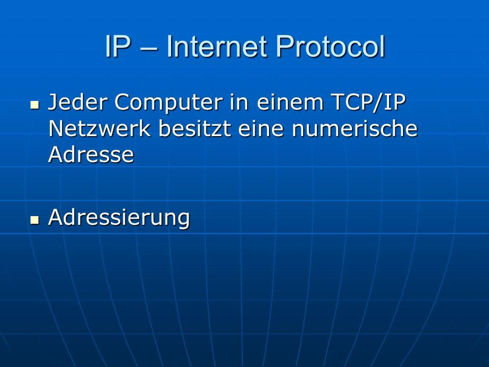IP – Internet Protocol Jeder Computer in einem TCP/IP Netzwerk besitzt eine numerische Adresse.