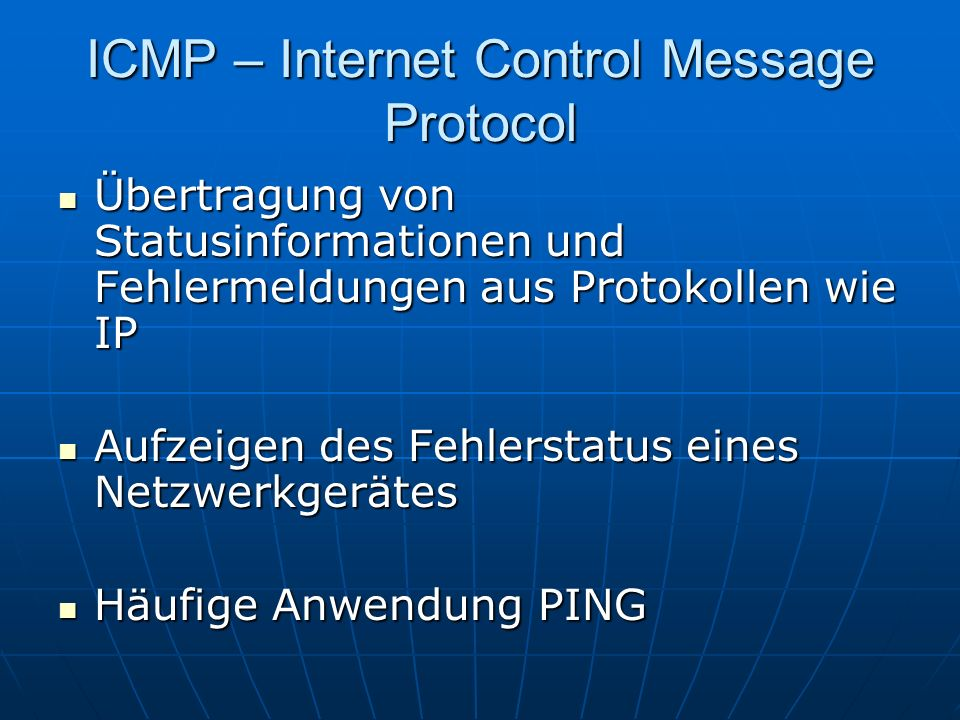 ICMP – Internet Control Message Protocol