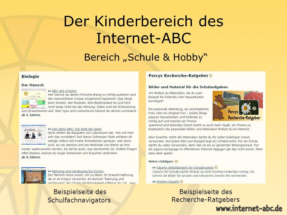 """Der Kinderbereich des Internet-ABC Bereich """"Schule & Hobby"""