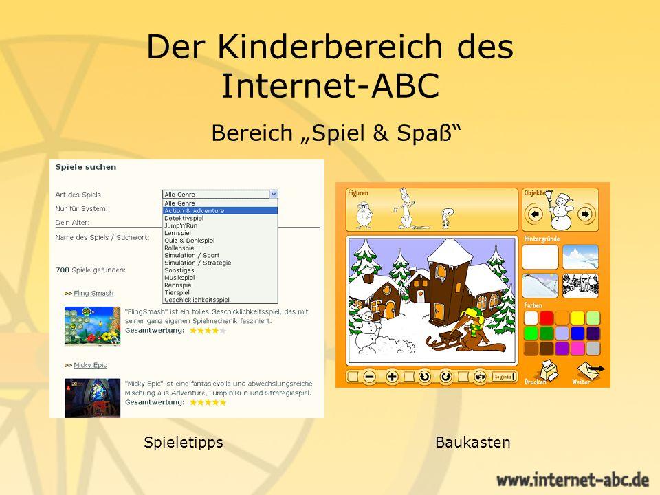 """Der Kinderbereich des Internet-ABC Bereich """"Spiel & Spaß"""