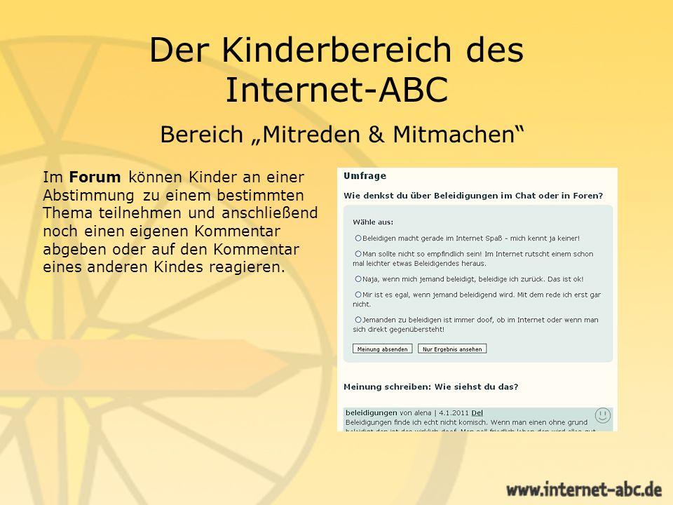 """Der Kinderbereich des Internet-ABC Bereich """"Mitreden & Mitmachen"""
