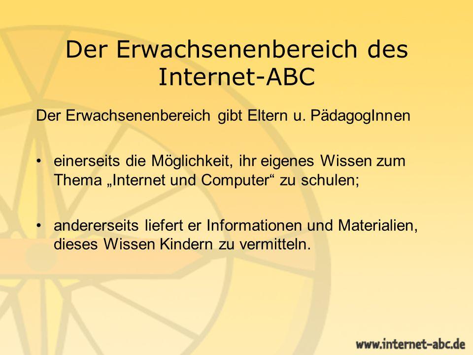 Der Erwachsenenbereich des Internet-ABC