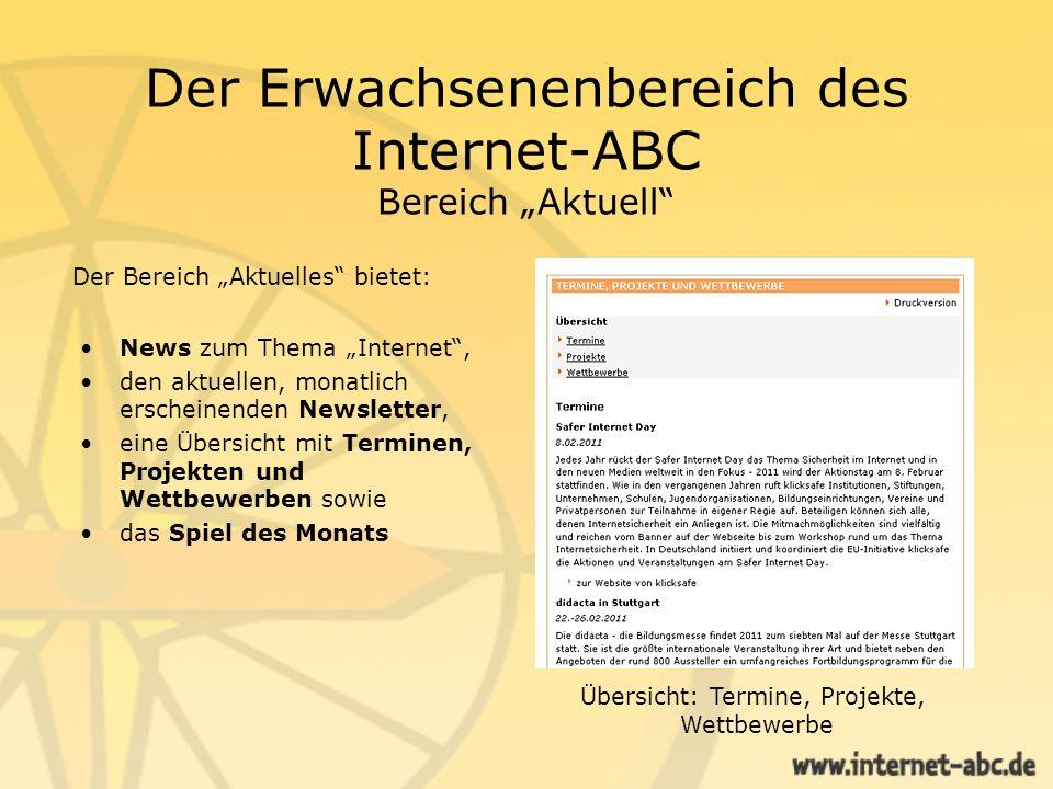"""Der Erwachsenenbereich des Internet-ABC Bereich """"Aktuell"""
