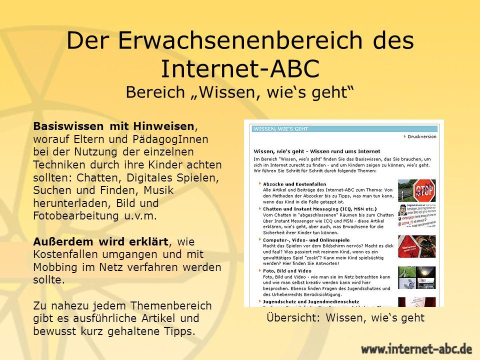 """Der Erwachsenenbereich des Internet-ABC Bereich """"Wissen, wie's geht"""