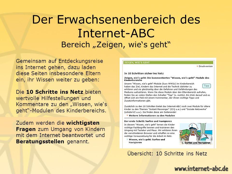 """Der Erwachsenenbereich des Internet-ABC Bereich """"Zeigen, wie's geht"""
