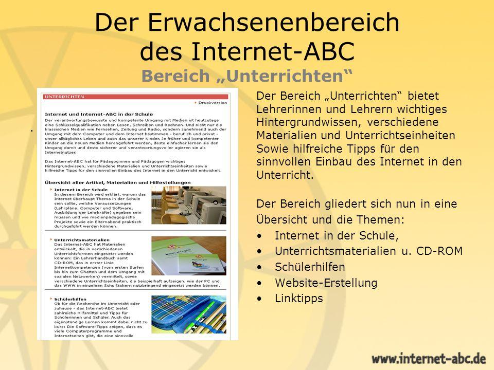 """Der Erwachsenenbereich des Internet-ABC Bereich """"Unterrichten"""