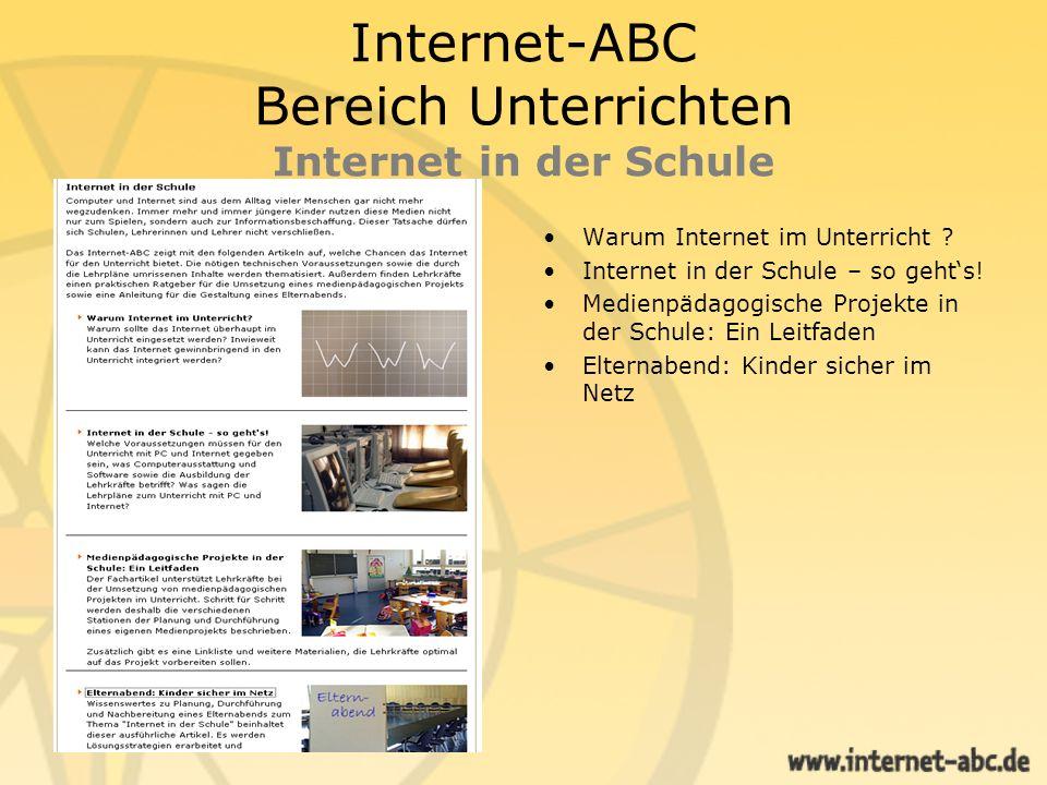 Internet-ABC Bereich Unterrichten Internet in der Schule