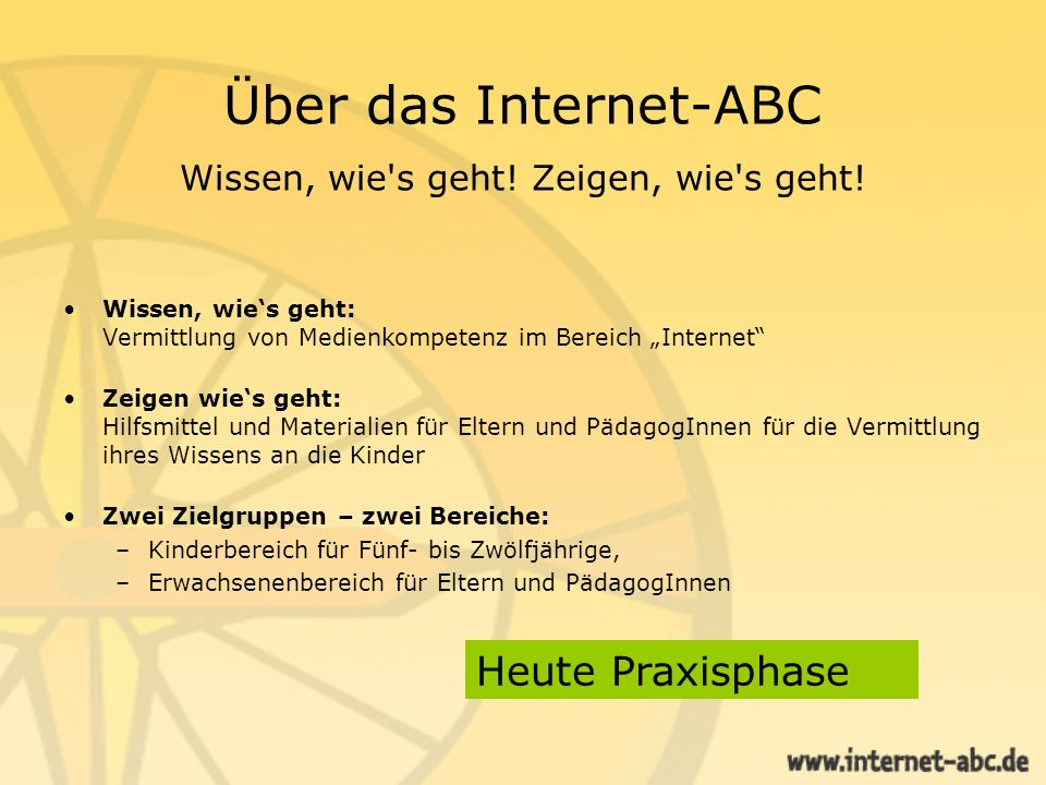 Über das Internet-ABC Wissen, wie s geht! Zeigen, wie s geht!