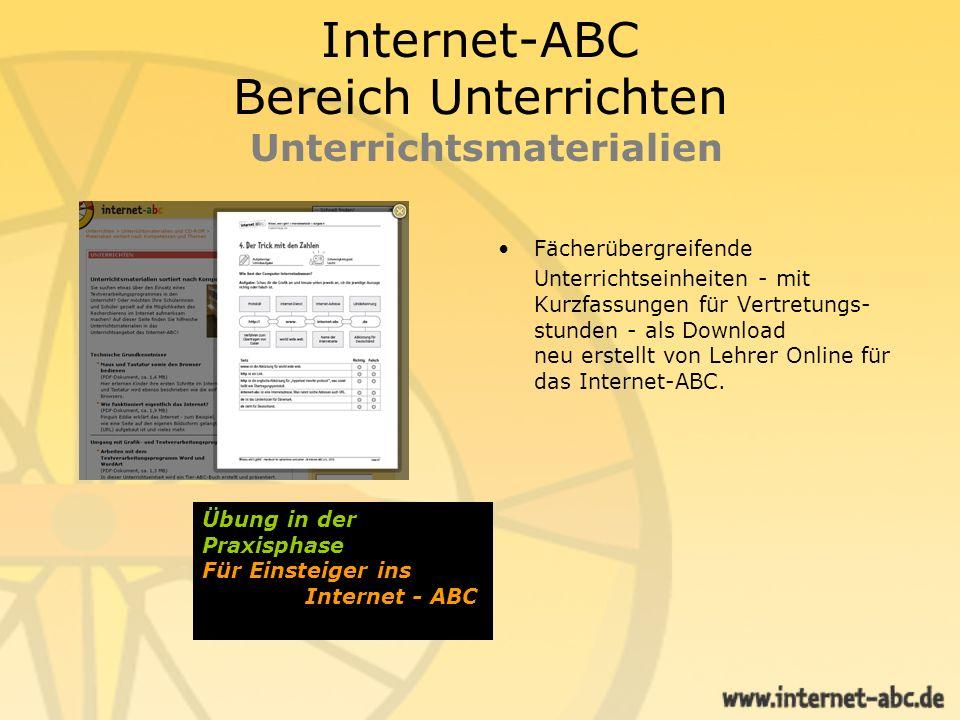 Internet-ABC Bereich Unterrichten Unterrichtsmaterialien