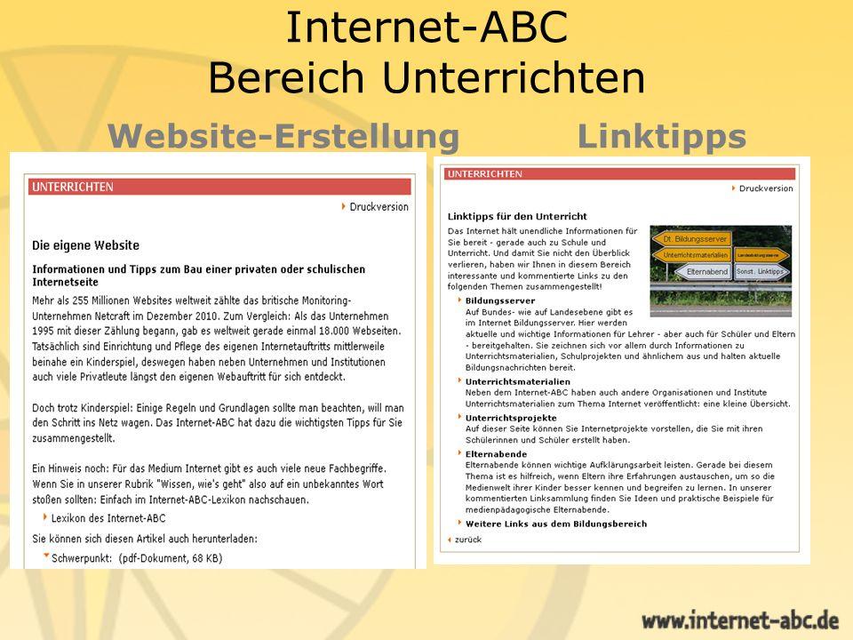 Internet-ABC Bereich Unterrichten Website-Erstellung Linktipps
