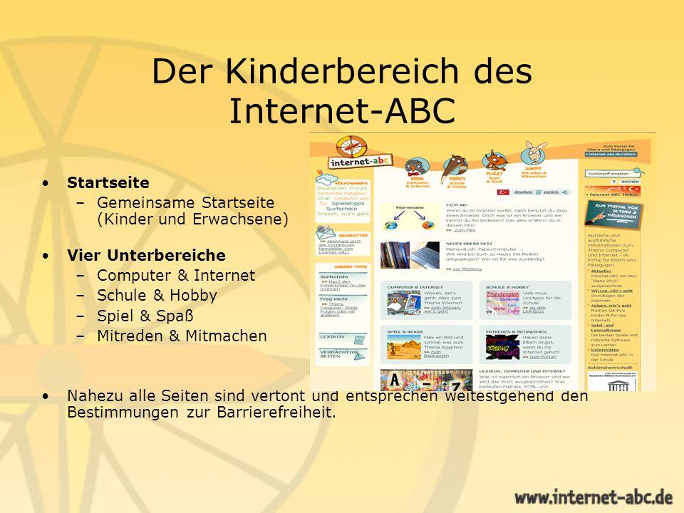 Der Kinderbereich des Internet-ABC