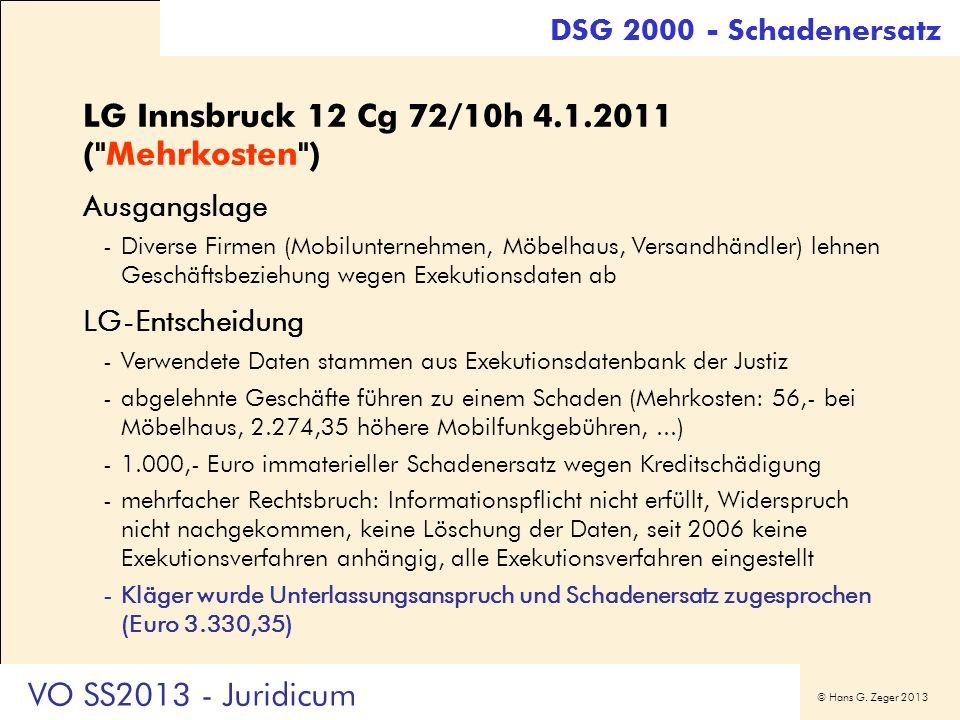 LG Innsbruck 12 Cg 72/10h 4.1.2011 ( Mehrkosten )