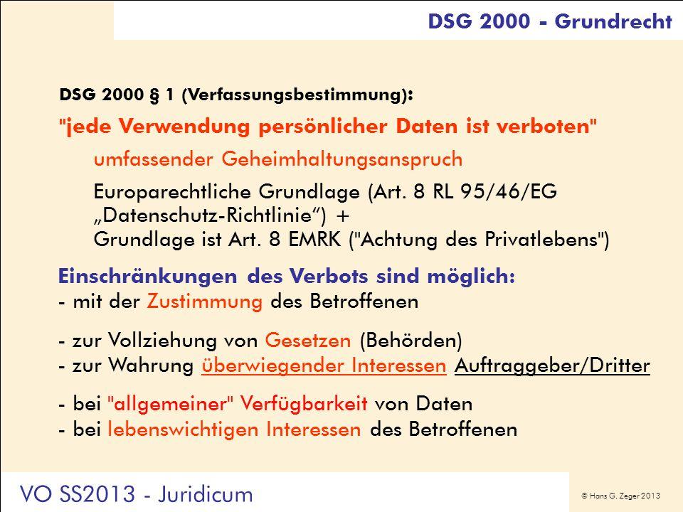 VO SS2013 - Juridicum DSG 2000 - Grundrecht