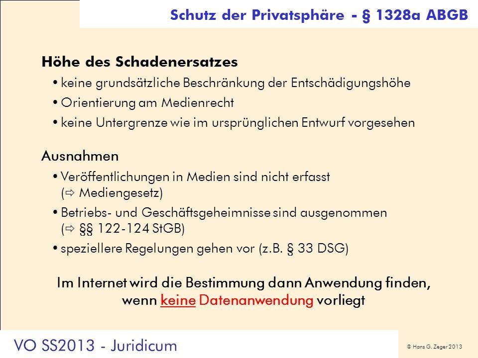 VO SS2013 - Juridicum Schutz der Privatsphäre - § 1328a ABGB