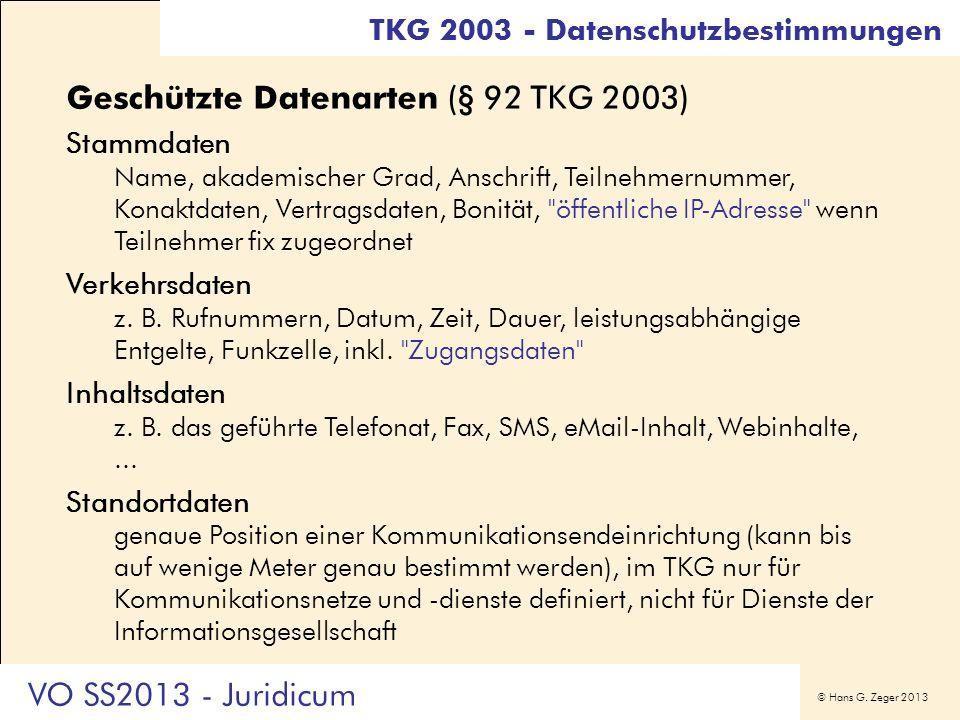 Geschützte Datenarten (§ 92 TKG 2003)
