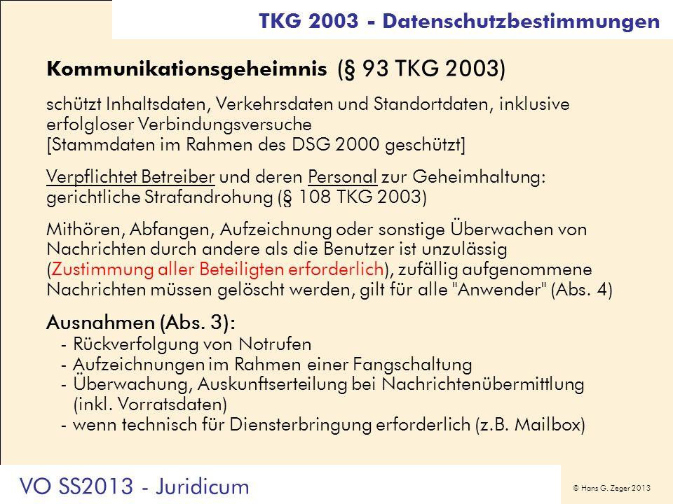 VO SS2013 - Juridicum TKG 2003 - Datenschutzbestimmungen