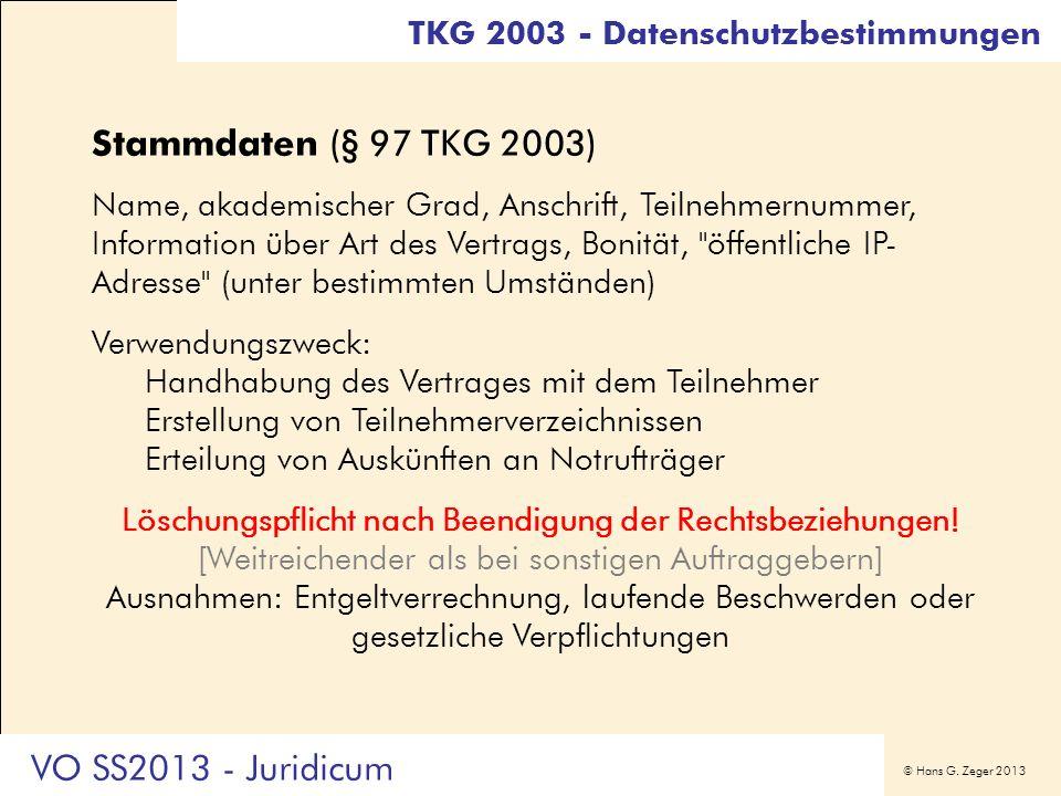 Stammdaten (§ 97 TKG 2003) VO SS2013 - Juridicum
