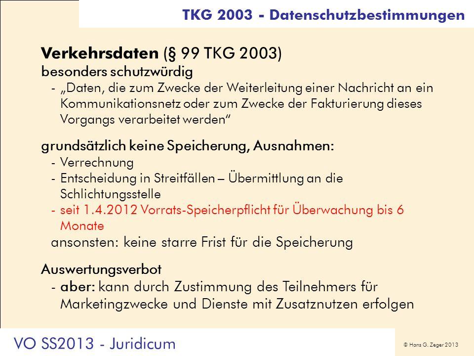 Verkehrsdaten (§ 99 TKG 2003) VO SS2013 - Juridicum