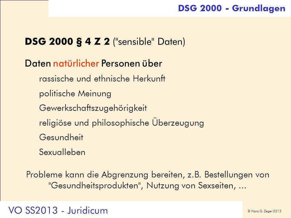 DSG 2000 § 4 Z 2 ( sensible Daten)