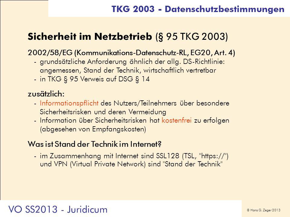Sicherheit im Netzbetrieb (§ 95 TKG 2003)