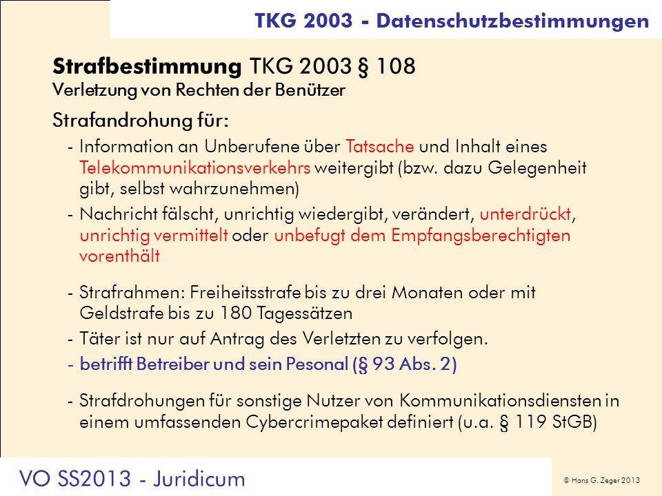 Strafbestimmung TKG 2003 § 108 Verletzung von Rechten der Benützer