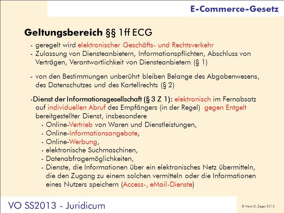 Geltungsbereich §§ 1ff ECG