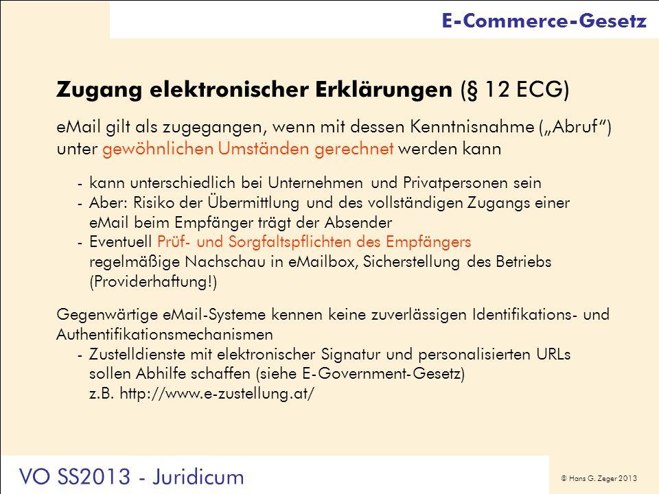 Zugang elektronischer Erklärungen (§ 12 ECG)