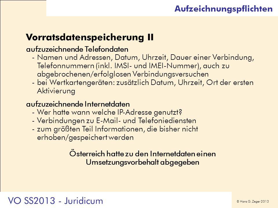 Vorratsdatenspeicherung II