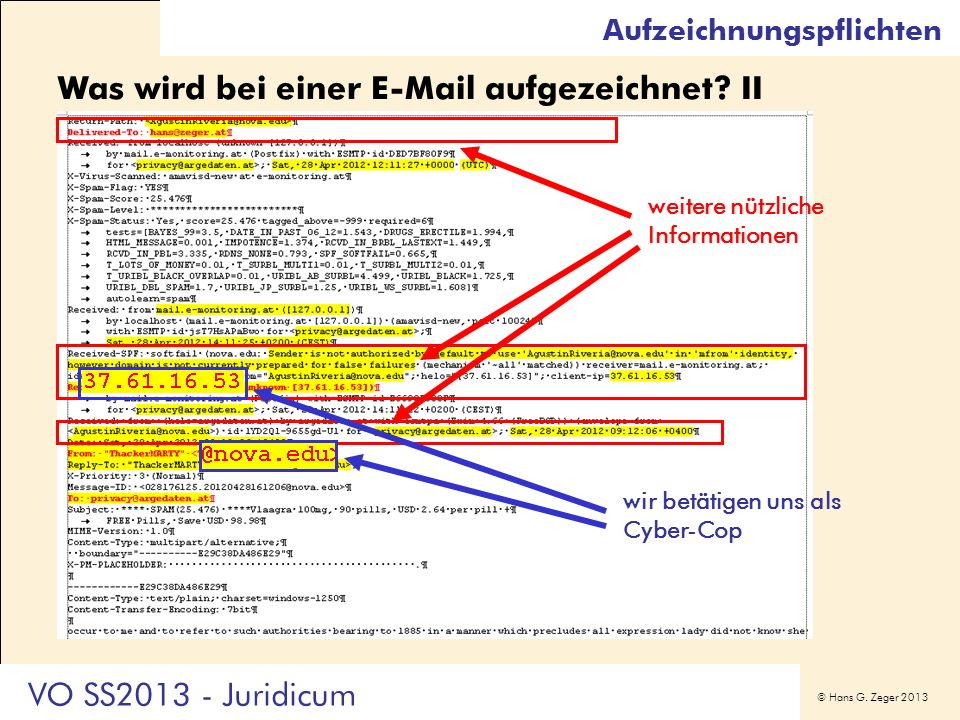 Was wird bei einer E-Mail aufgezeichnet II