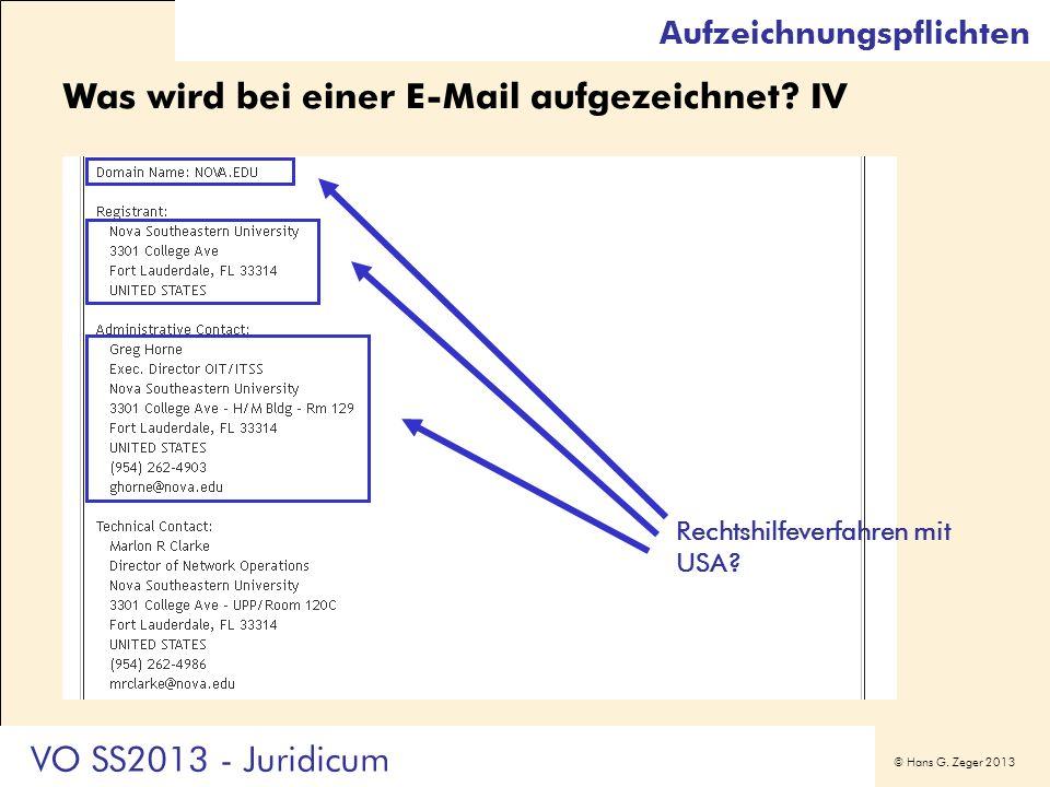 Was wird bei einer E-Mail aufgezeichnet IV