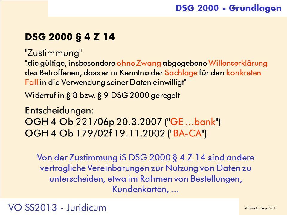 DSG 2000 - Grundlagen DSG 2000 § 4 Z 14. Zustimmung
