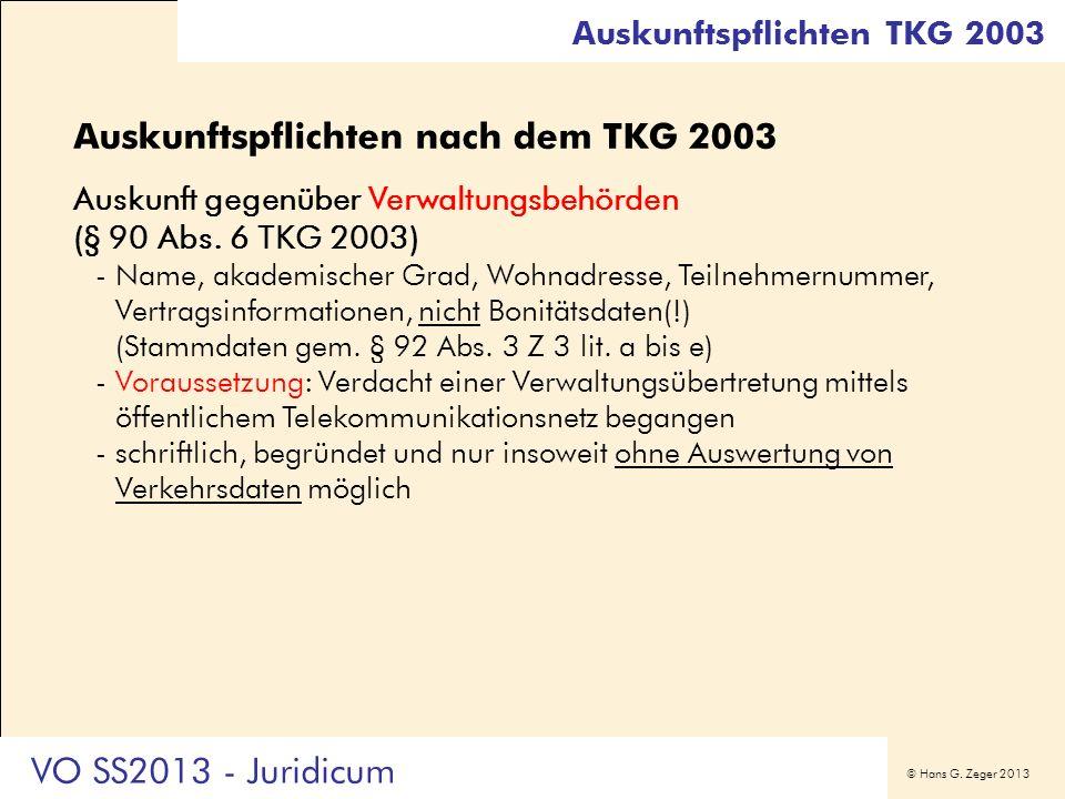 Auskunftspflichten nach dem TKG 2003