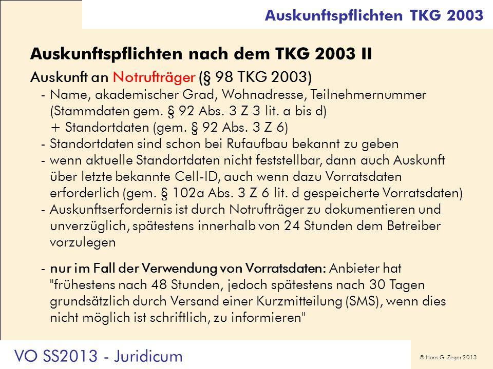 Auskunftspflichten nach dem TKG 2003 II