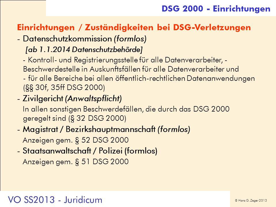 VO SS2013 - Juridicum DSG 2000 - Einrichtungen