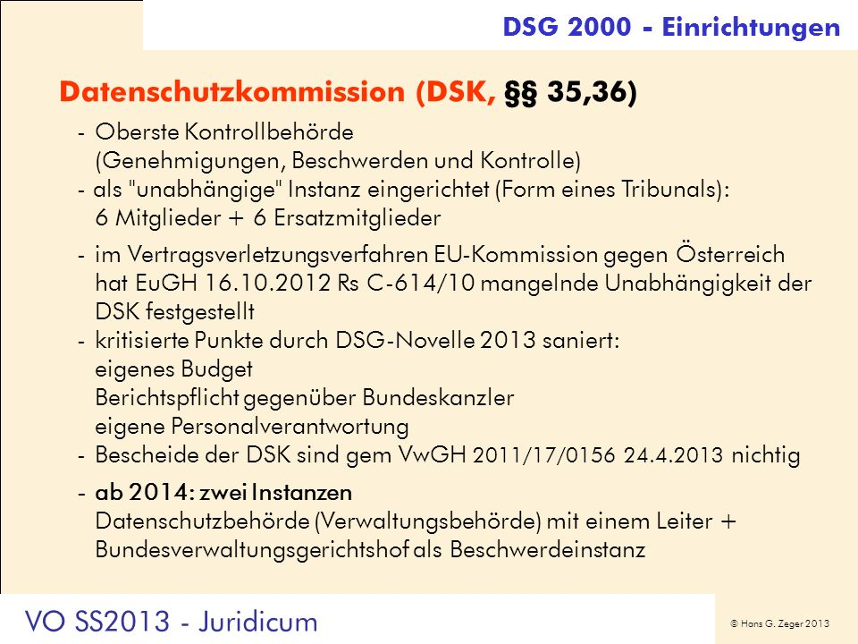 Datenschutzkommission (DSK, §§ 35,36)