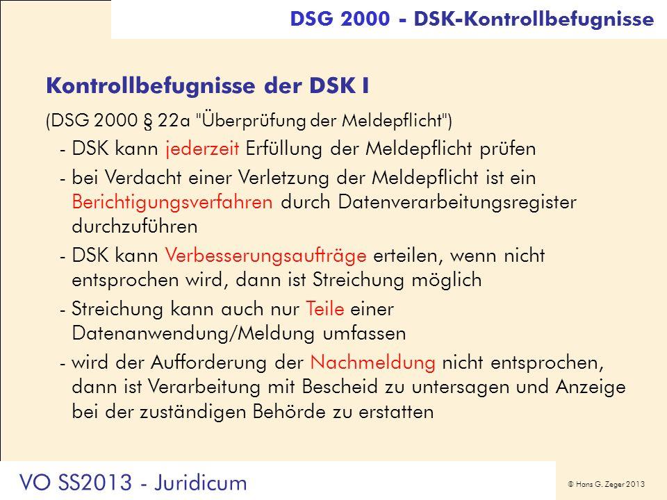 Kontrollbefugnisse der DSK I