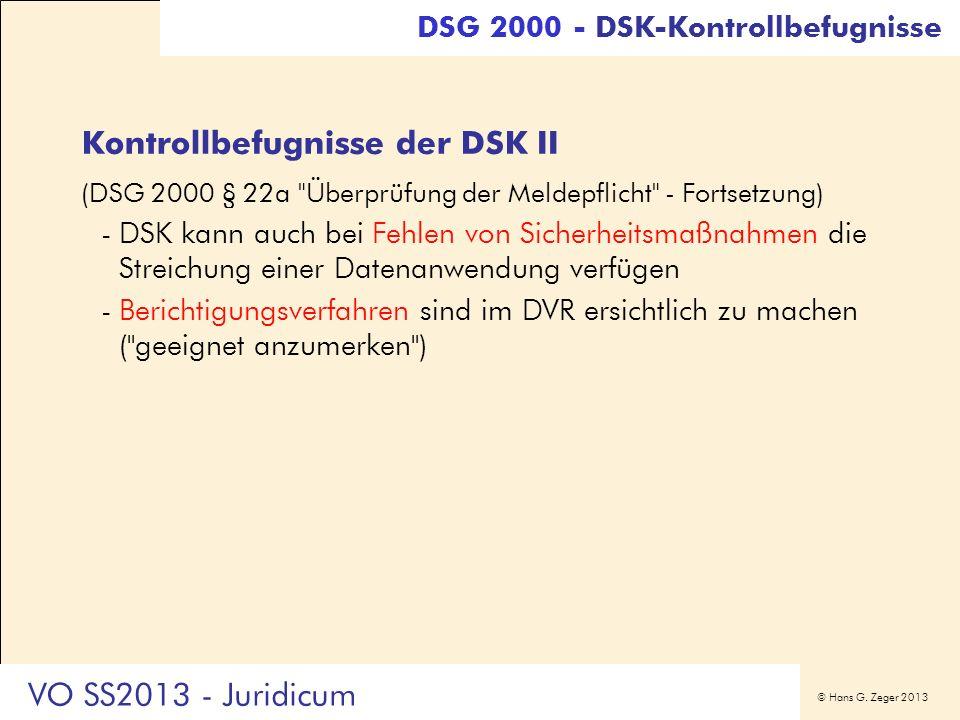 Kontrollbefugnisse der DSK II