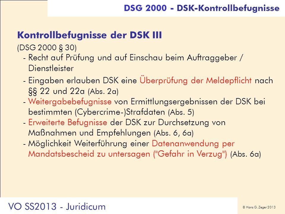 Kontrollbefugnisse der DSK III