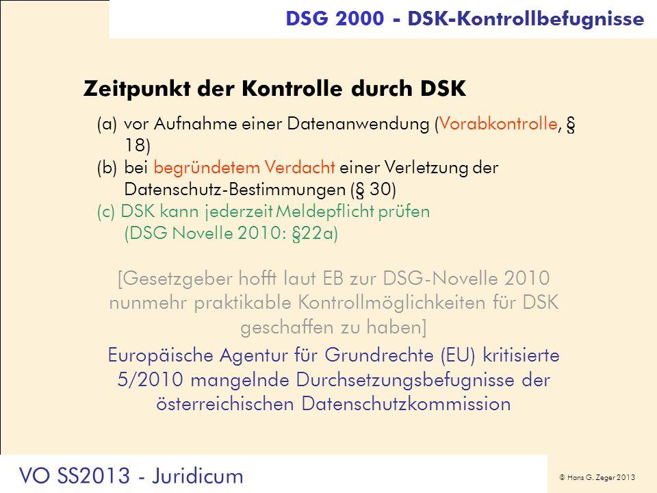 Zeitpunkt der Kontrolle durch DSK