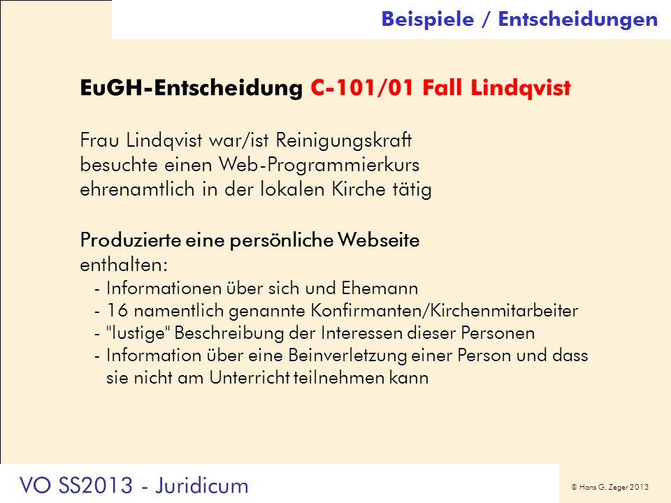 EuGH-Entscheidung C-101/01 Fall Lindqvist
