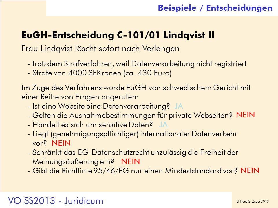 EuGH-Entscheidung C-101/01 Lindqvist II