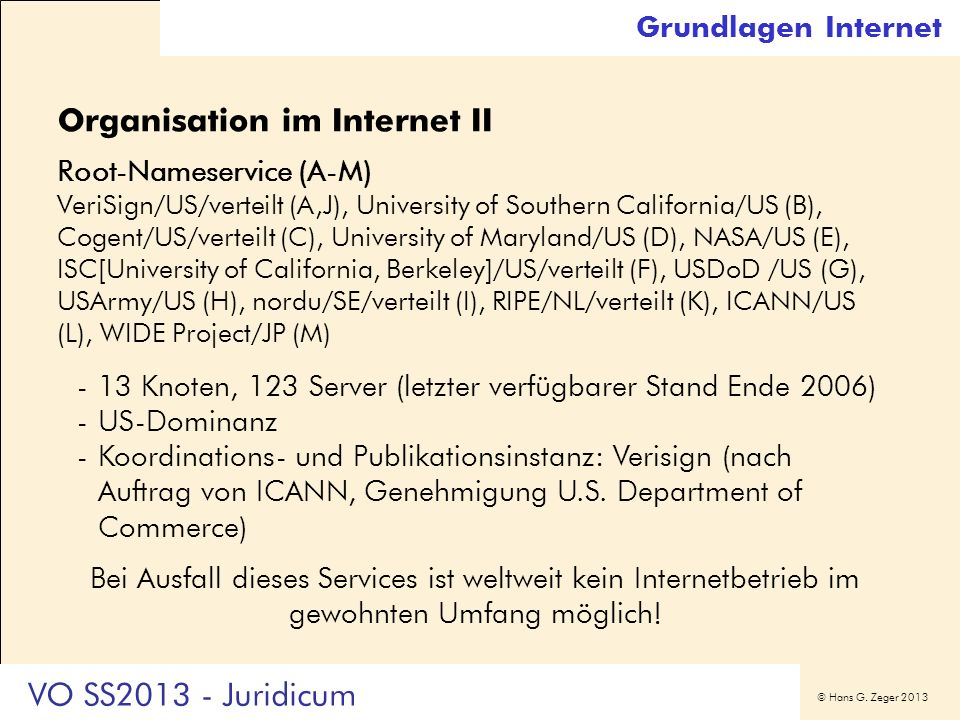 Organisation im Internet II