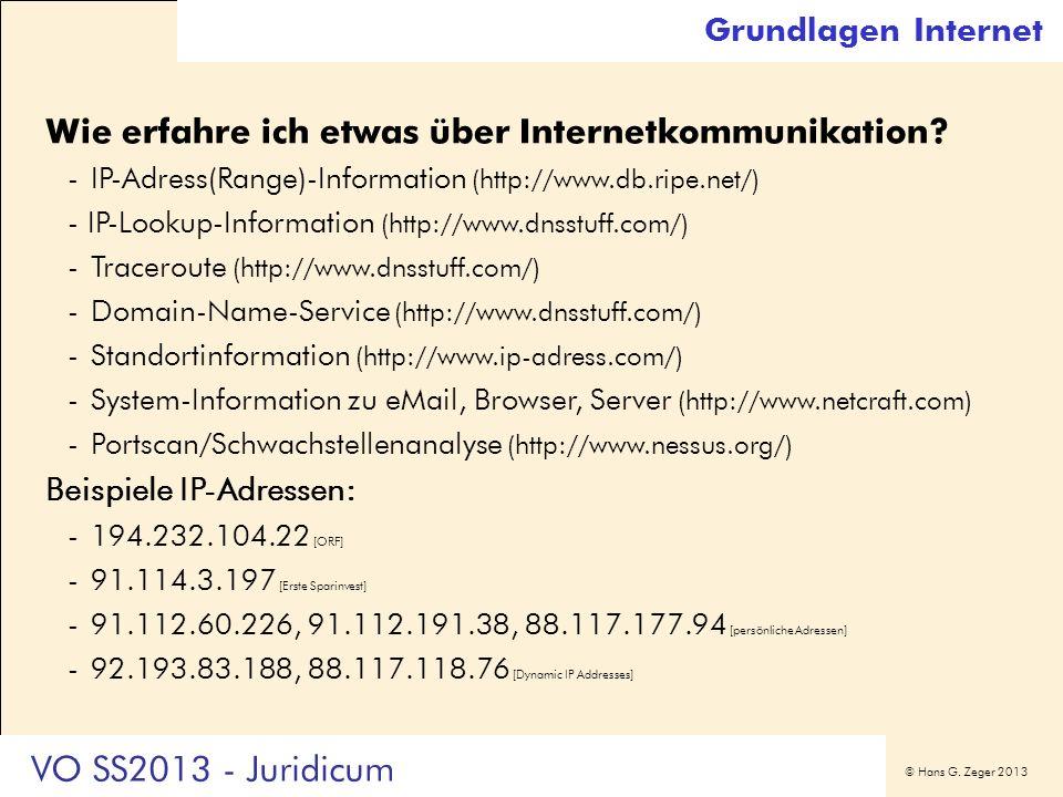 Grundlagen Internet Wie erfahre ich etwas über Internetkommunikation - IP-Adress(Range)-Information (http://www.db.ripe.net/)