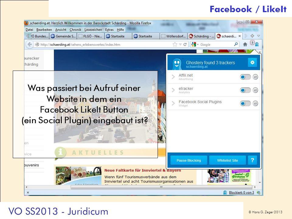 VO SS2013 - Juridicum Facebook / LikeIt Was passiert bei Aufruf einer
