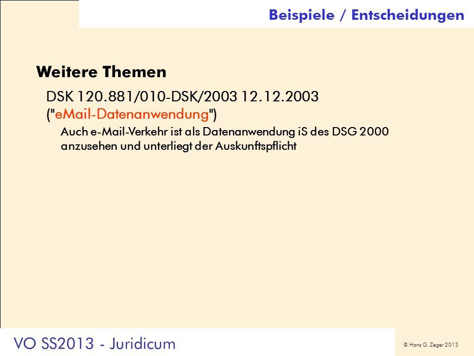 Weitere Themen VO SS2013 - Juridicum Beispiele / Entscheidungen