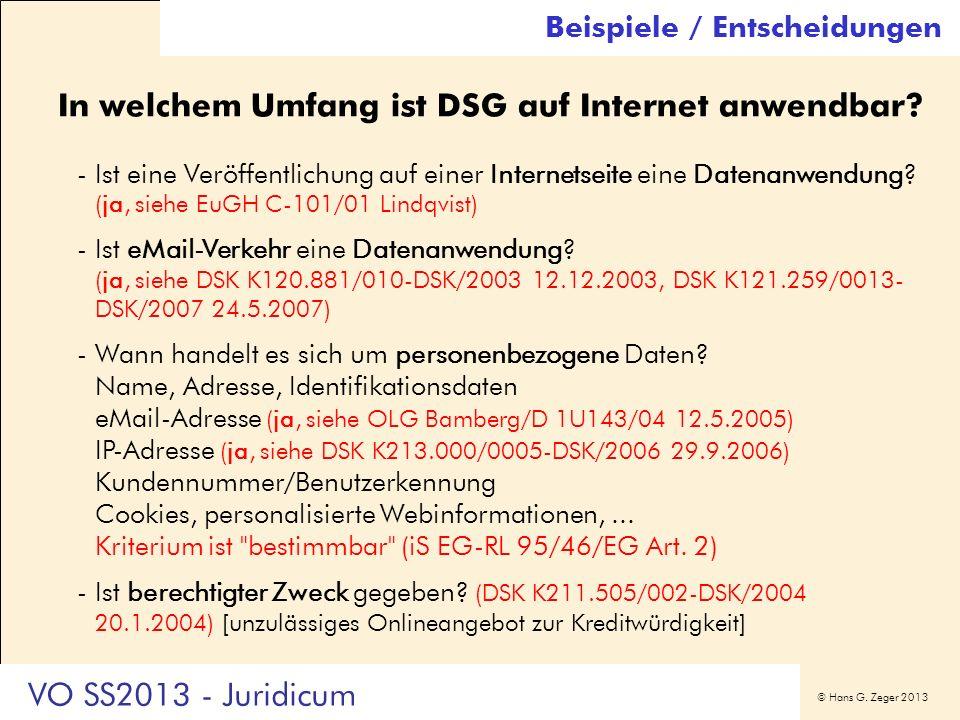 In welchem Umfang ist DSG auf Internet anwendbar