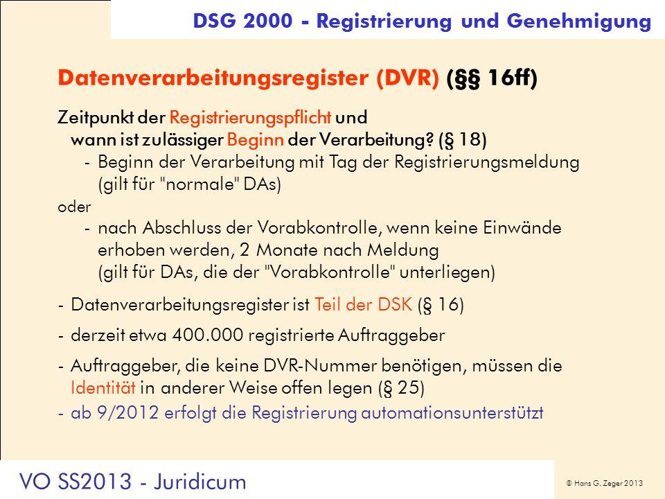 Datenverarbeitungsregister (DVR) (§§ 16ff)