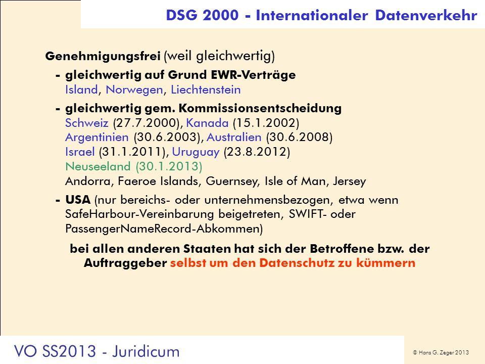 VO SS2013 - Juridicum DSG 2000 - Internationaler Datenverkehr