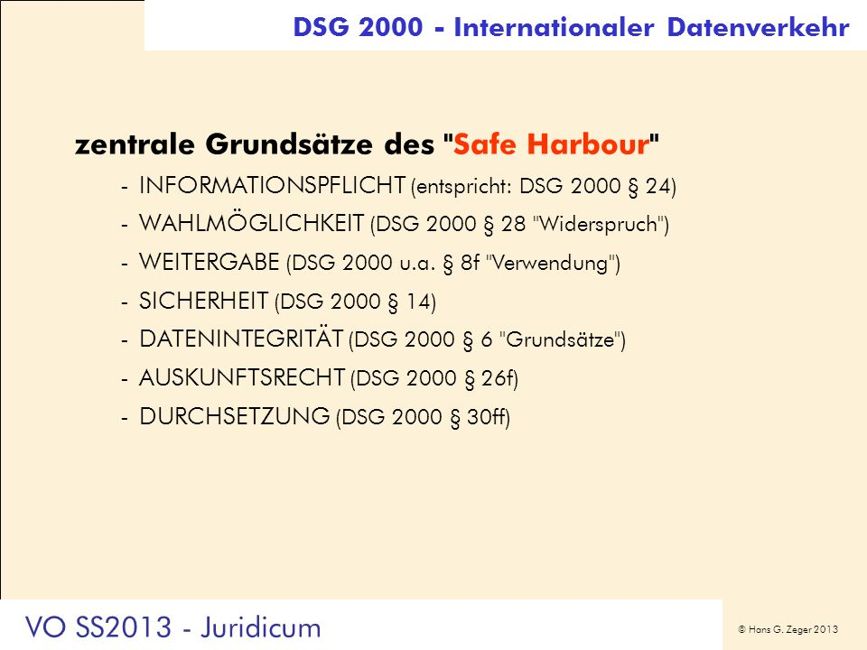 zentrale Grundsätze des Safe Harbour